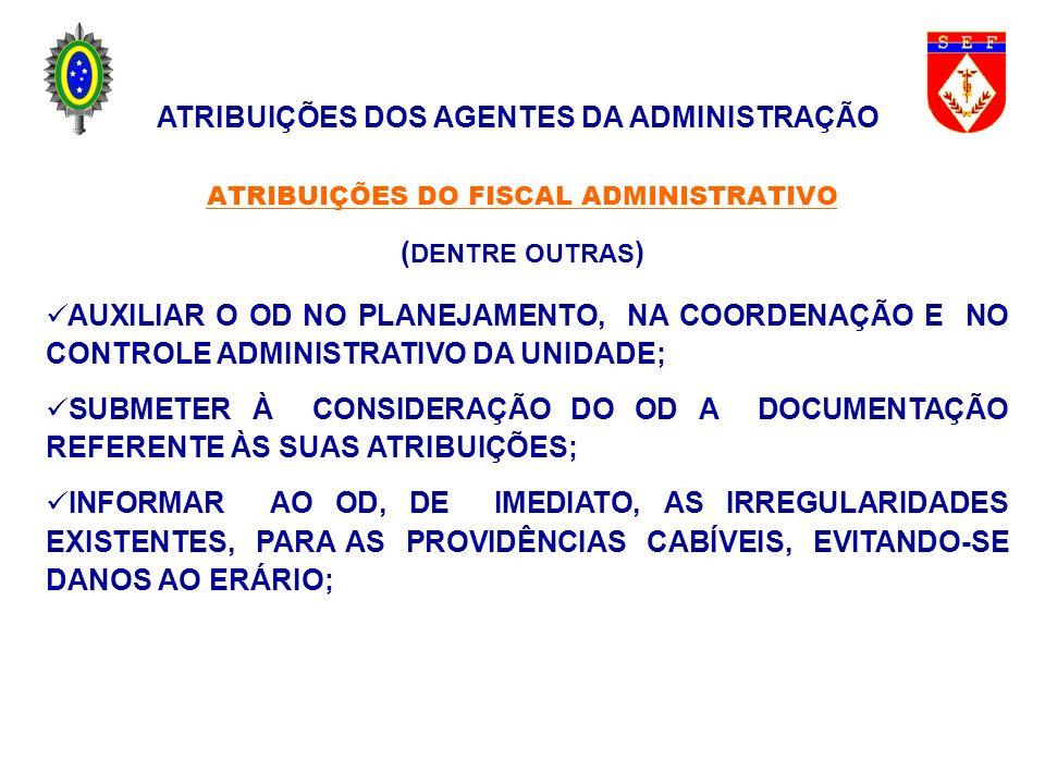ATRIBUIÇÕES DO FISCAL ADMINISTRATIVO (DENTRE OUTRAS)