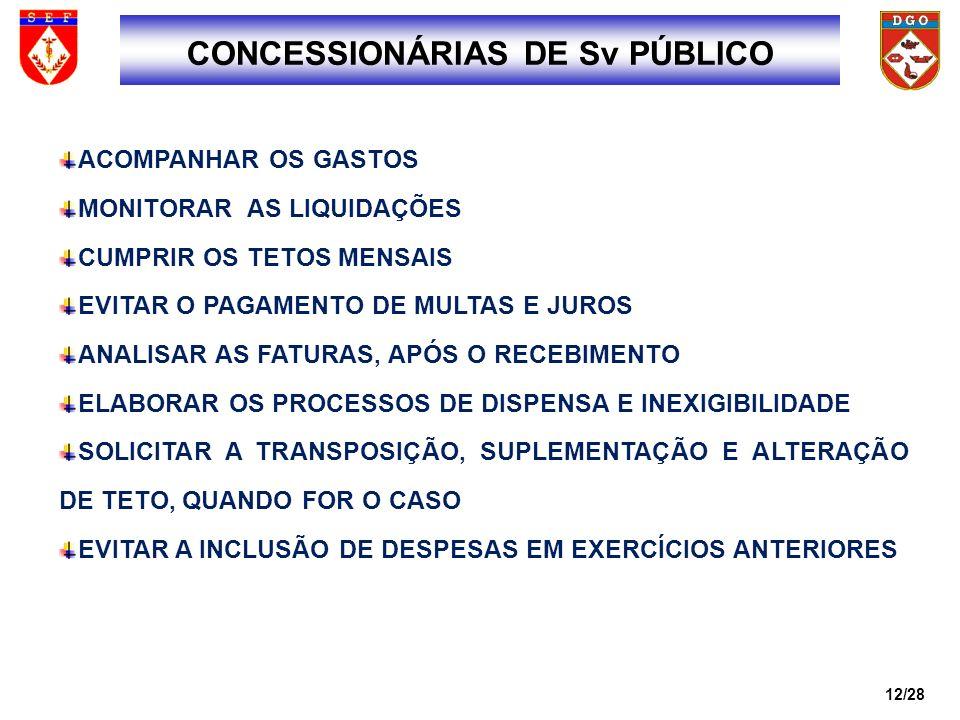 CONCESSIONÁRIAS DE Sv PÚBLICO