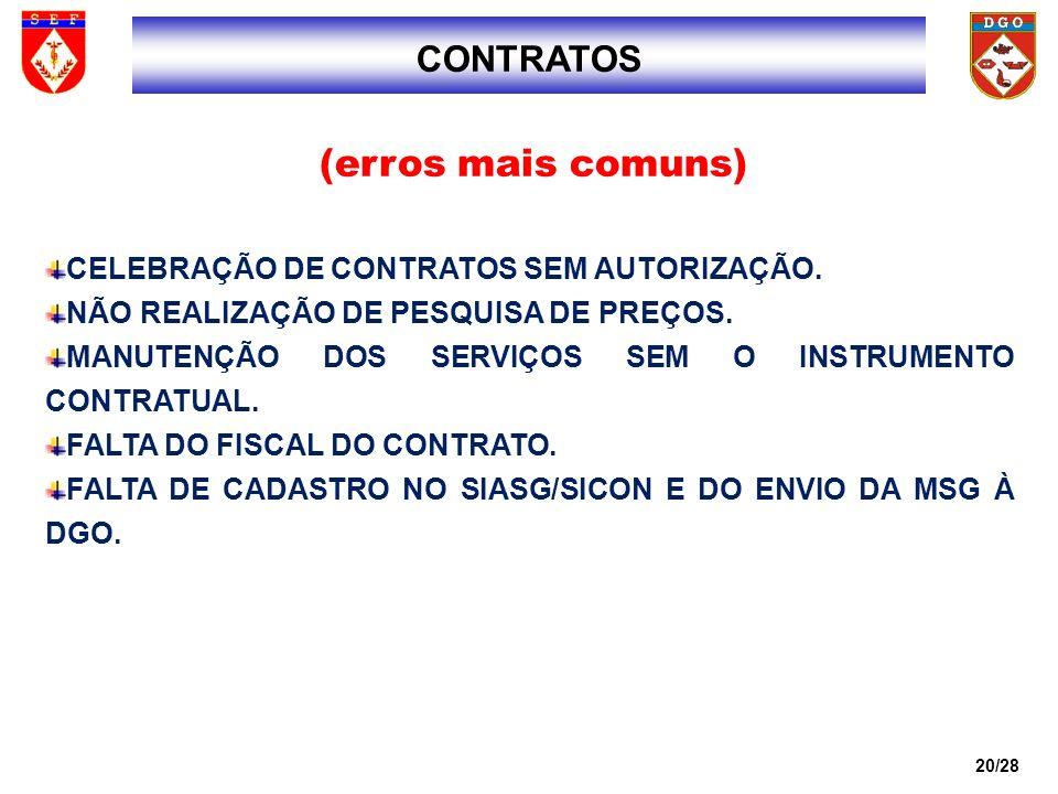 (erros mais comuns) CONTRATOS CELEBRAÇÃO DE CONTRATOS SEM AUTORIZAÇÃO.