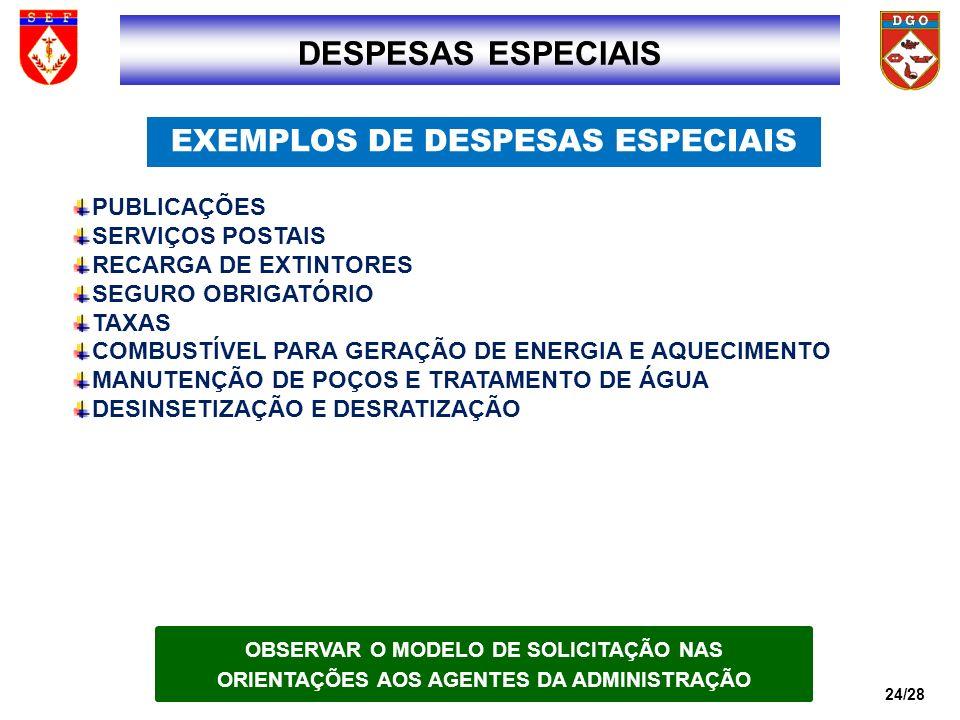 DESPESAS ESPECIAIS EXEMPLOS DE DESPESAS ESPECIAIS 2424 PUBLICAÇÕES