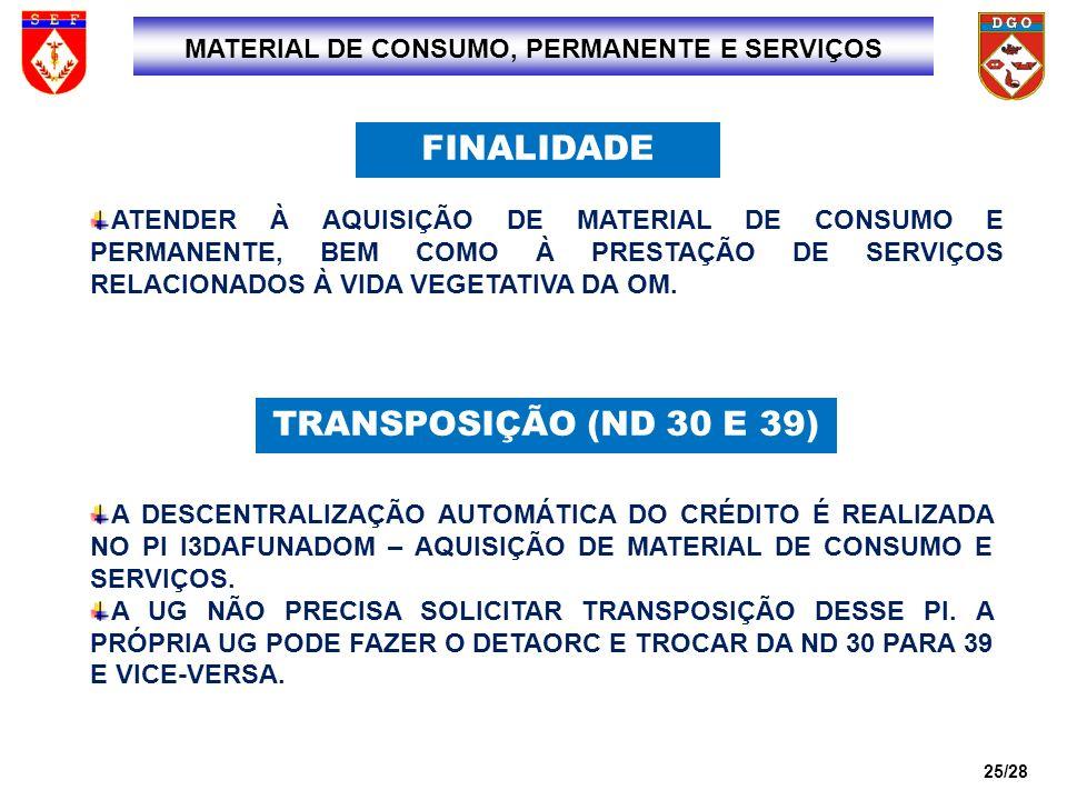 MATERIAL DE CONSUMO, PERMANENTE E SERVIÇOS