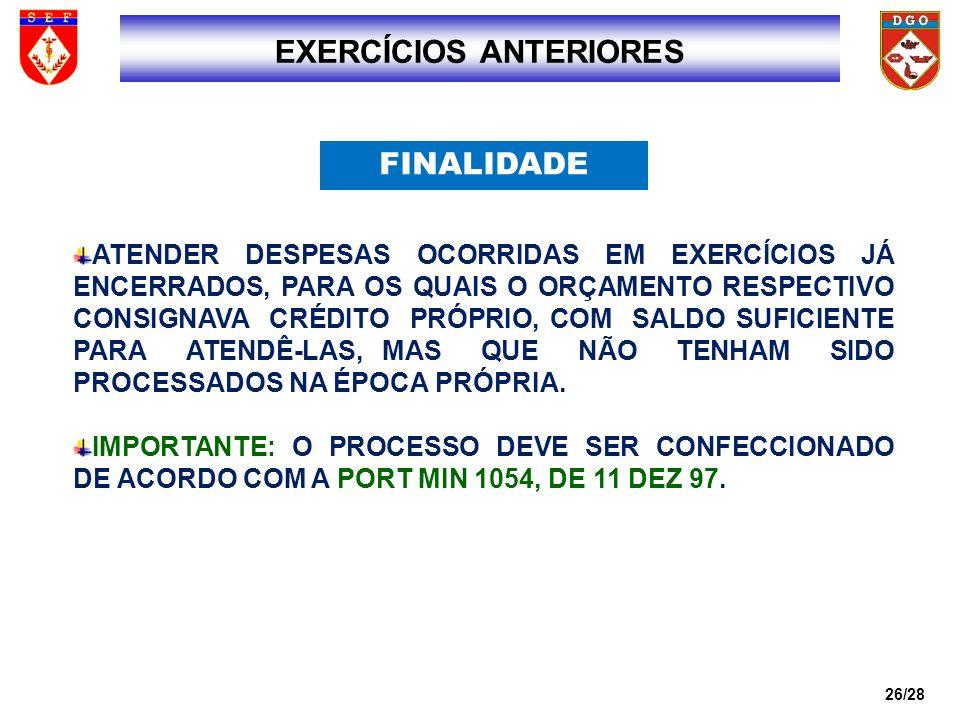 EXERCÍCIOS ANTERIORES