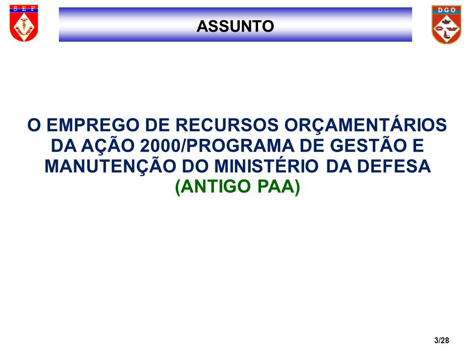 3ASSUNTO. O EMPREGO DE RECURSOS ORÇAMENTÁRIOS DA AÇÃO 2000/PROGRAMA DE GESTÃO E MANUTENÇÃO DO MINISTÉRIO DA DEFESA (ANTIGO PAA)