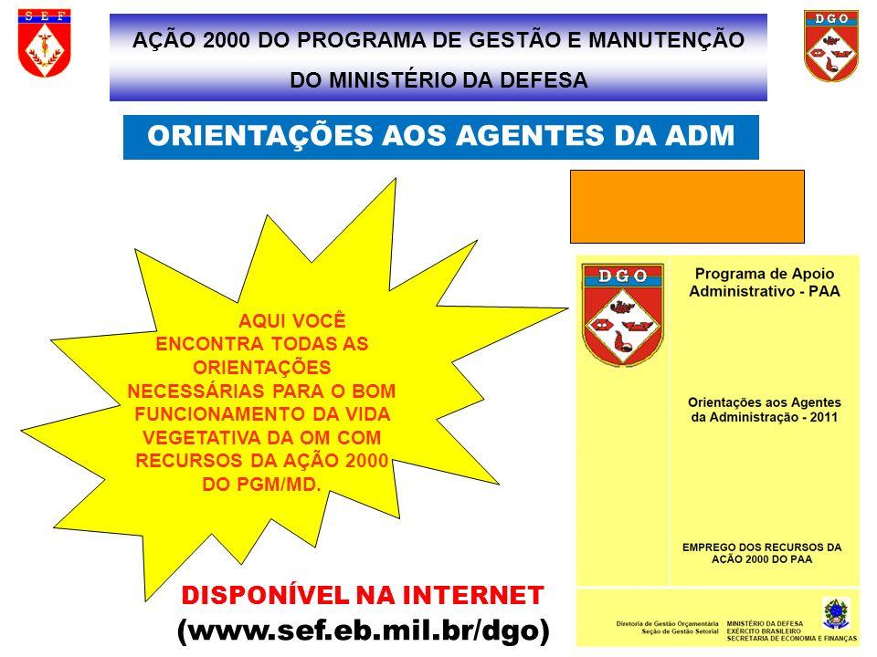 ORIENTAÇÕES AOS AGENTES DA ADM