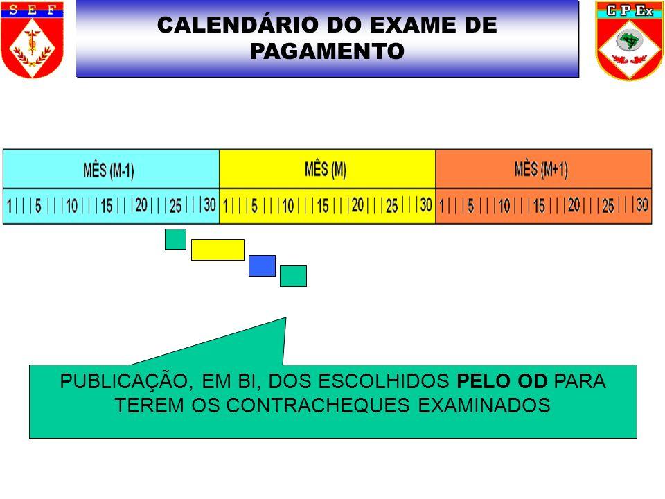 CALENDÁRIO DO EXAME DE PAGAMENTO