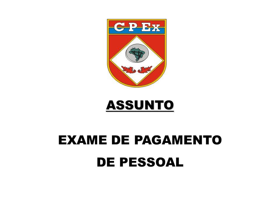 ASSUNTO EXAME DE PAGAMENTO DE PESSOAL