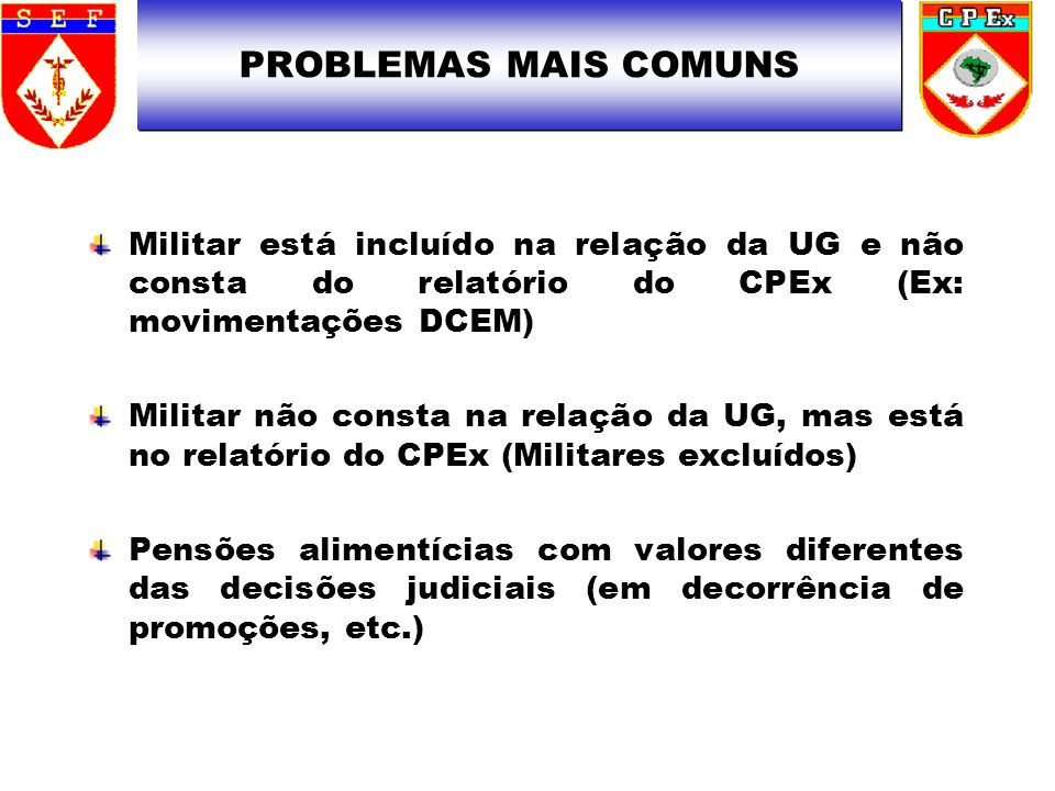 PROBLEMAS MAIS COMUNS Militar está incluído na relação da UG e não consta do relatório do CPEx (Ex: movimentações DCEM)