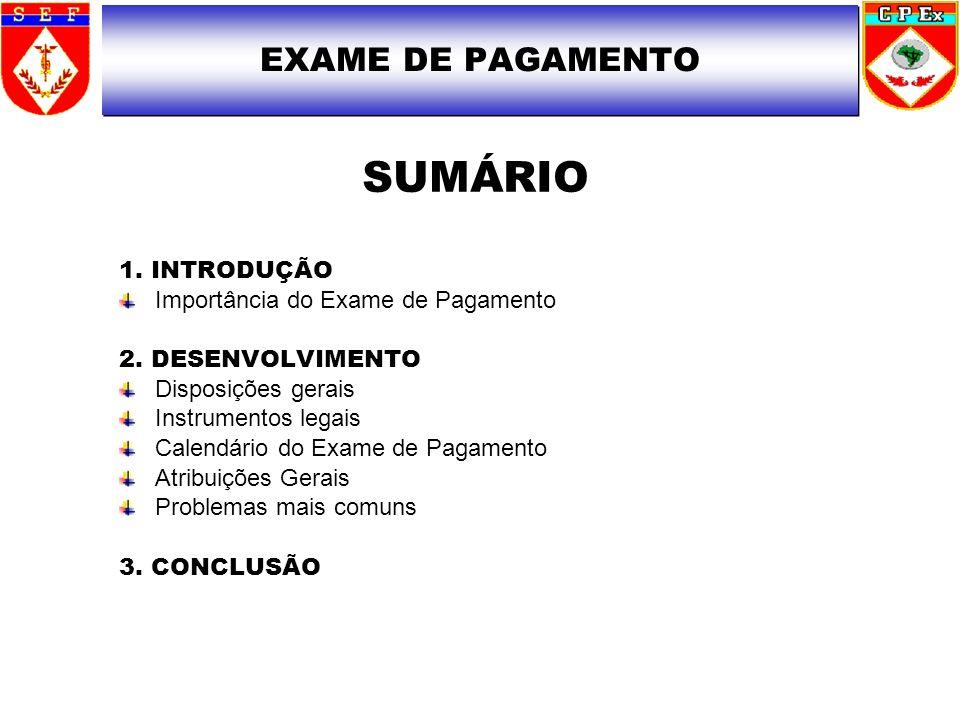 SUMÁRIO EXAME DE PAGAMENTO 1. INTRODUÇÃO