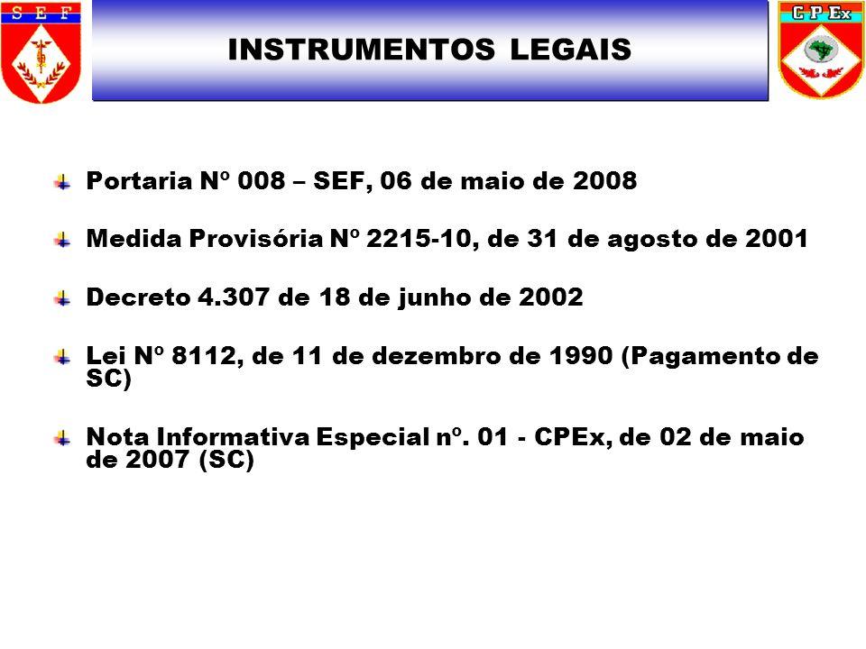 INSTRUMENTOS LEGAIS Portaria Nº 008 – SEF, 06 de maio de 2008