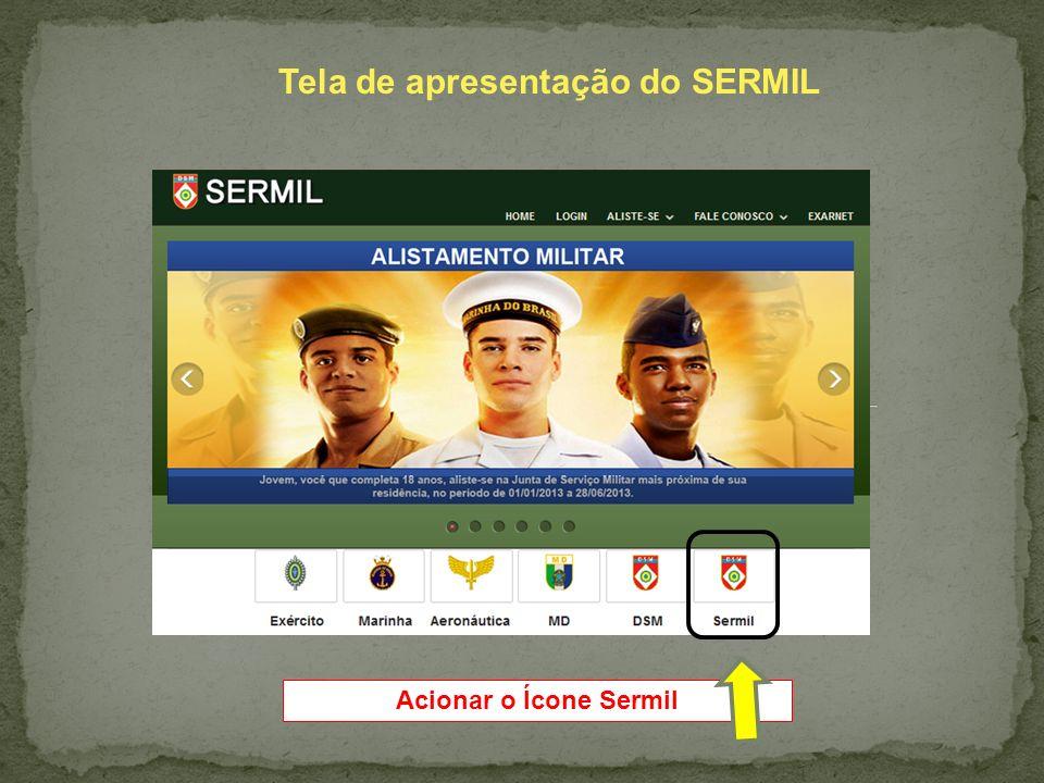 Tela de apresentação do SERMIL