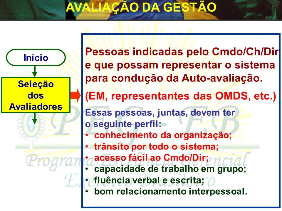 AVALIAÇÃO DA GESTÃO Pessoas indicadas pelo Cmdo/Ch/Dir