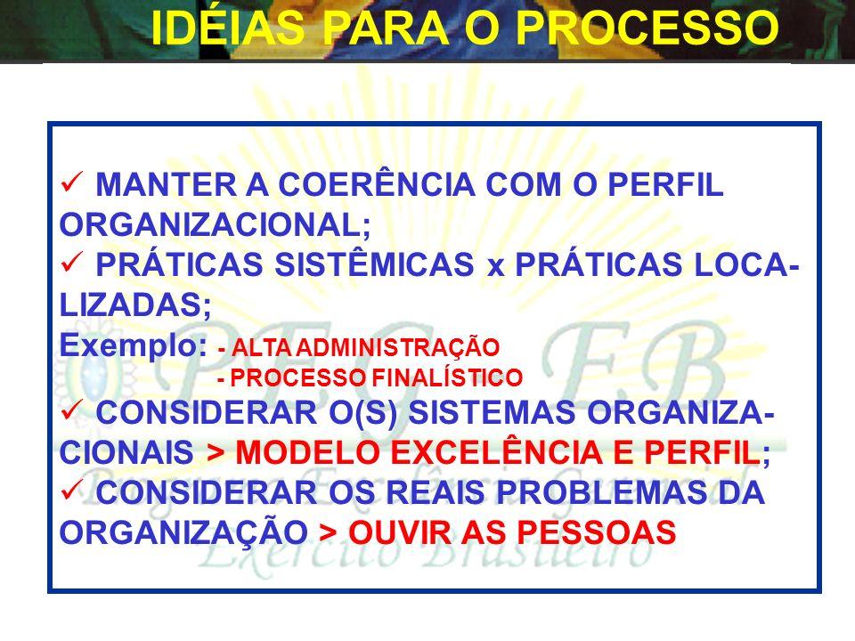 IDÉIAS PARA O PROCESSO MANTER A COERÊNCIA COM O PERFIL ORGANIZACIONAL;