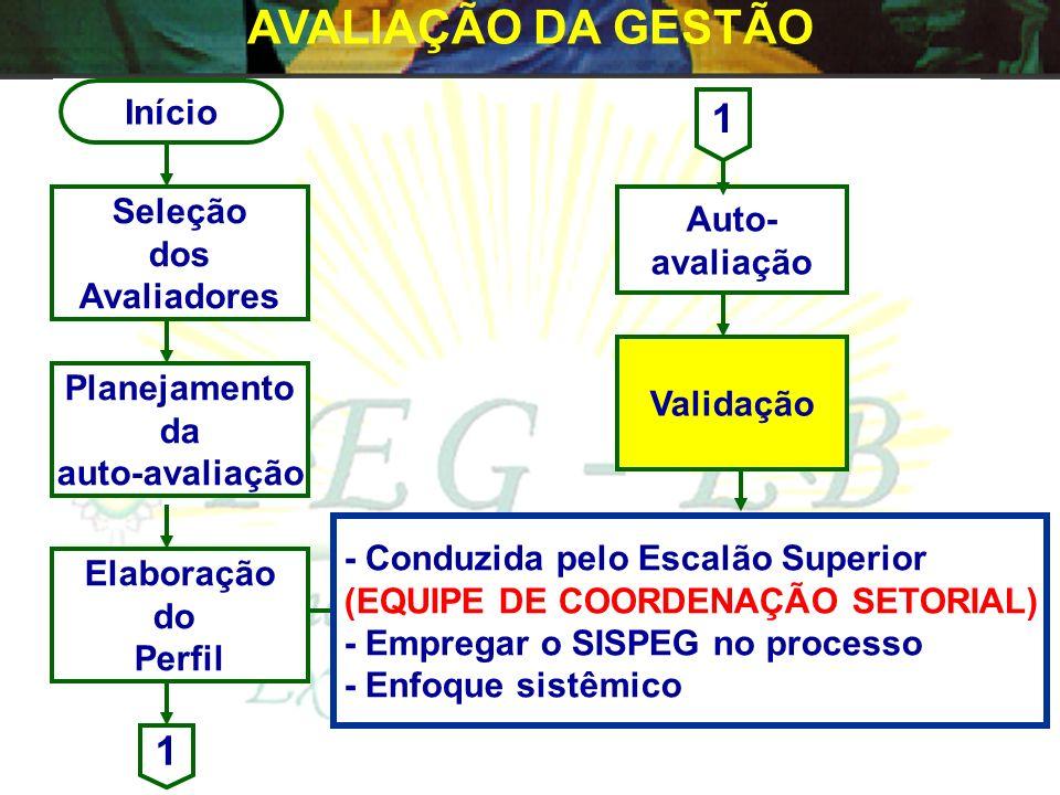 AVALIAÇÃO DA GESTÃO 1 1 Início Seleção Auto- dos avaliação Avaliadores