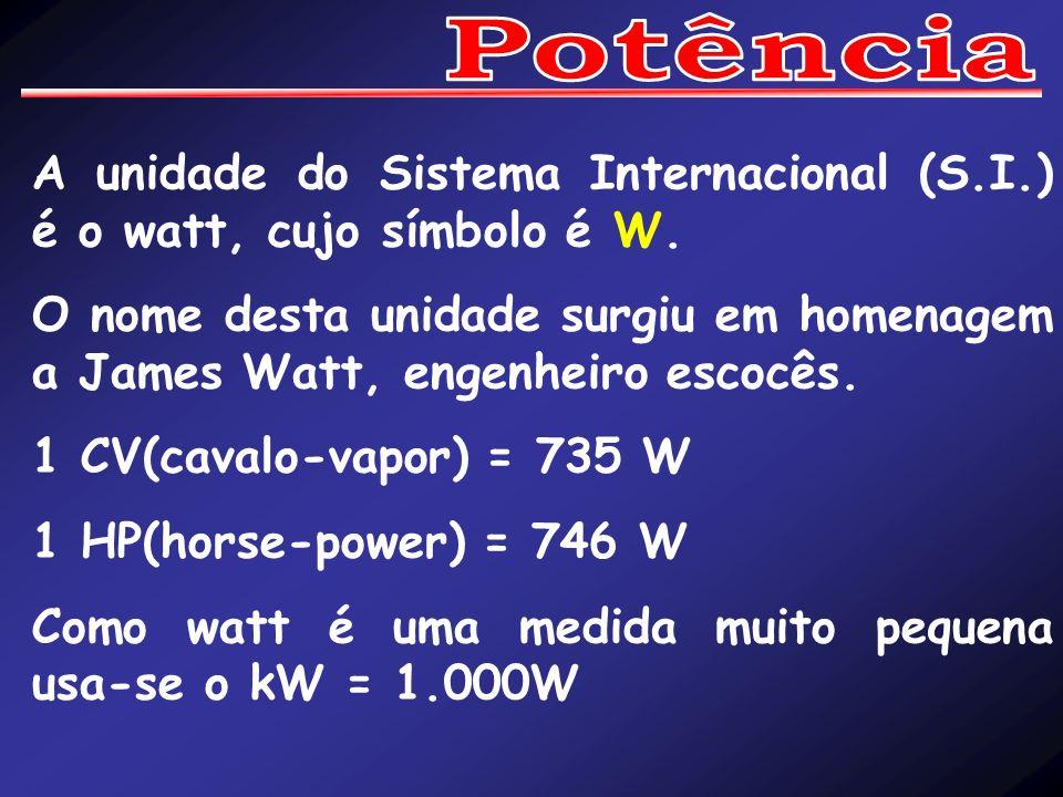 Potência A unidade do Sistema Internacional (S.I.) é o watt, cujo símbolo é W.