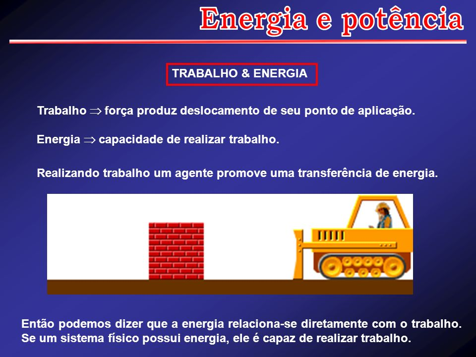 Energia e potência TRABALHO & ENERGIA