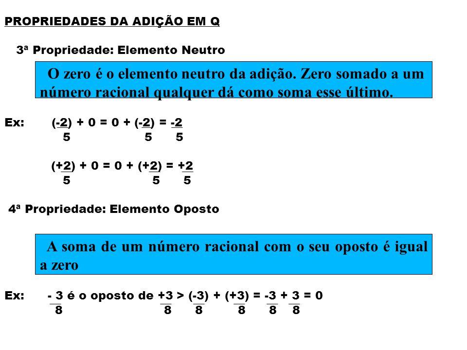 A soma de um número racional com o seu oposto é igual a zero