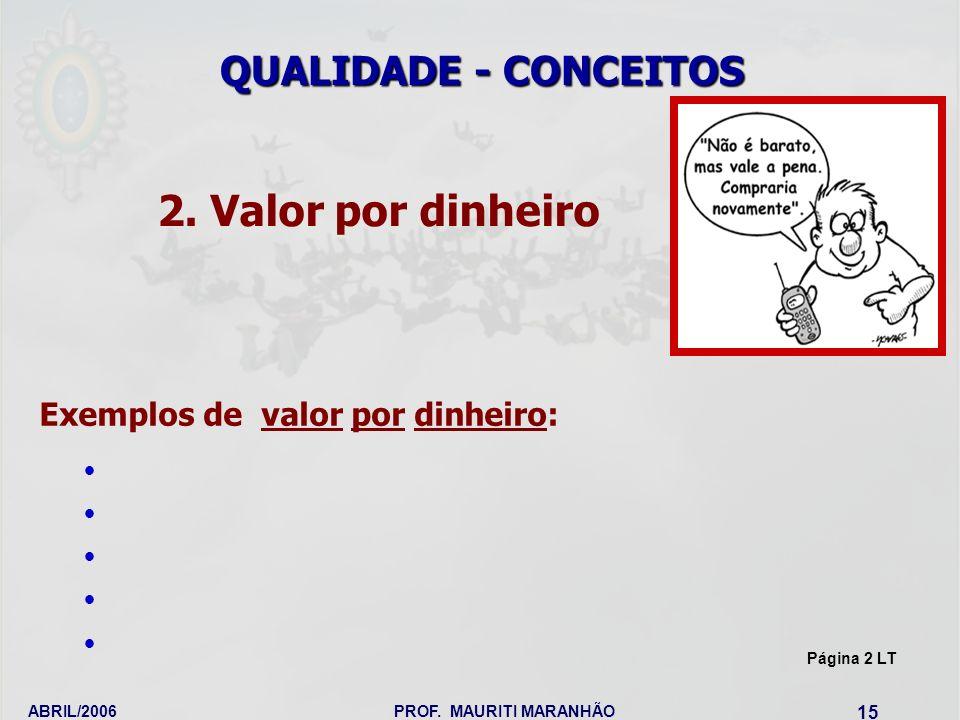 2. Valor por dinheiro QUALIDADE - CONCEITOS