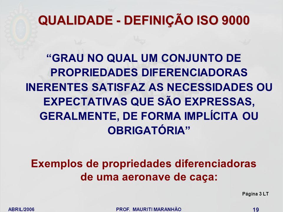 QUALIDADE - DEFINIÇÃO ISO 9000