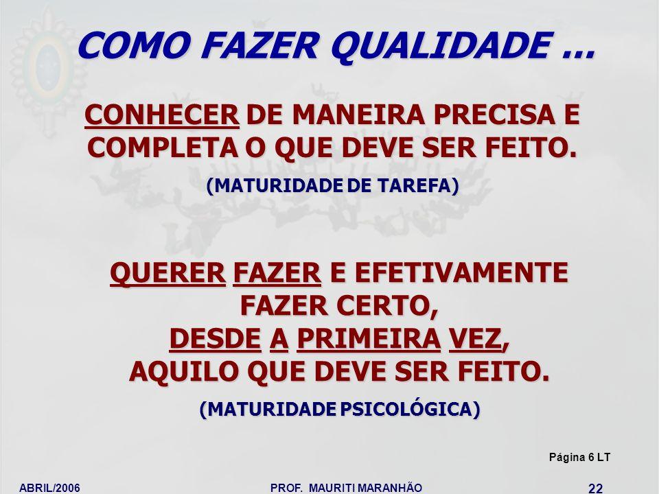 COMO FAZER QUALIDADE ... CONHECER DE MANEIRA PRECISA E COMPLETA O QUE DEVE SER FEITO. (MATURIDADE DE TAREFA)