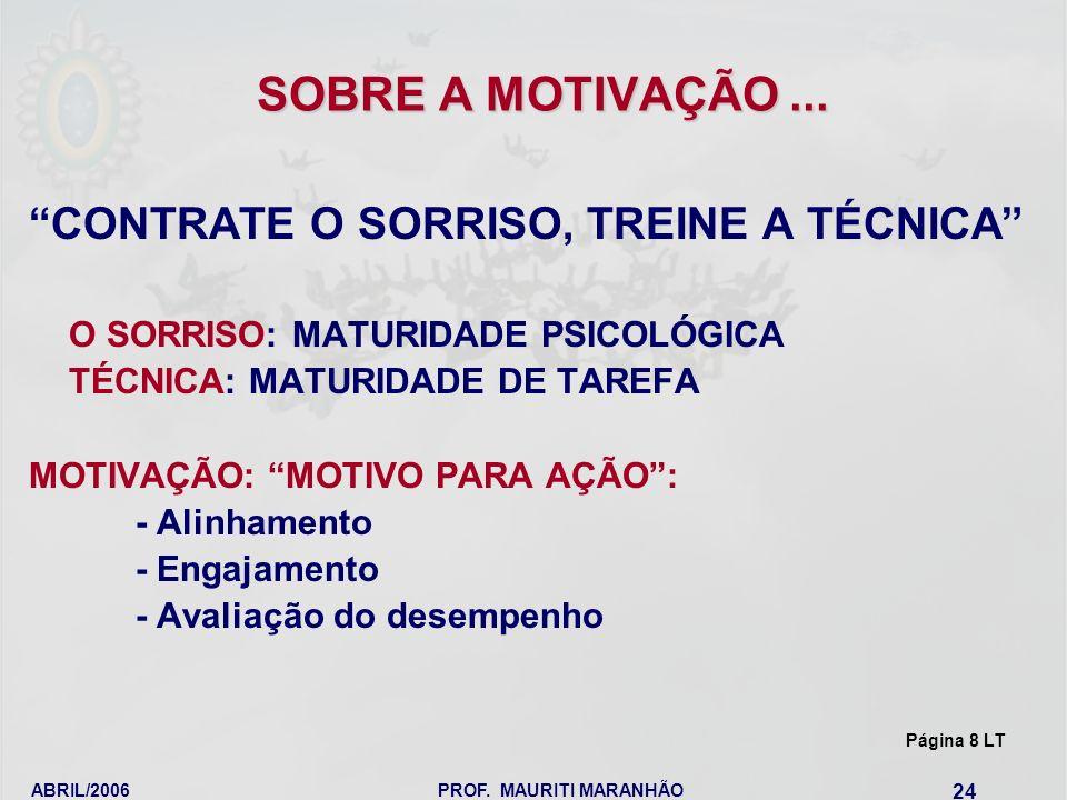SOBRE A MOTIVAÇÃO ... CONTRATE O SORRISO, TREINE A TÉCNICA