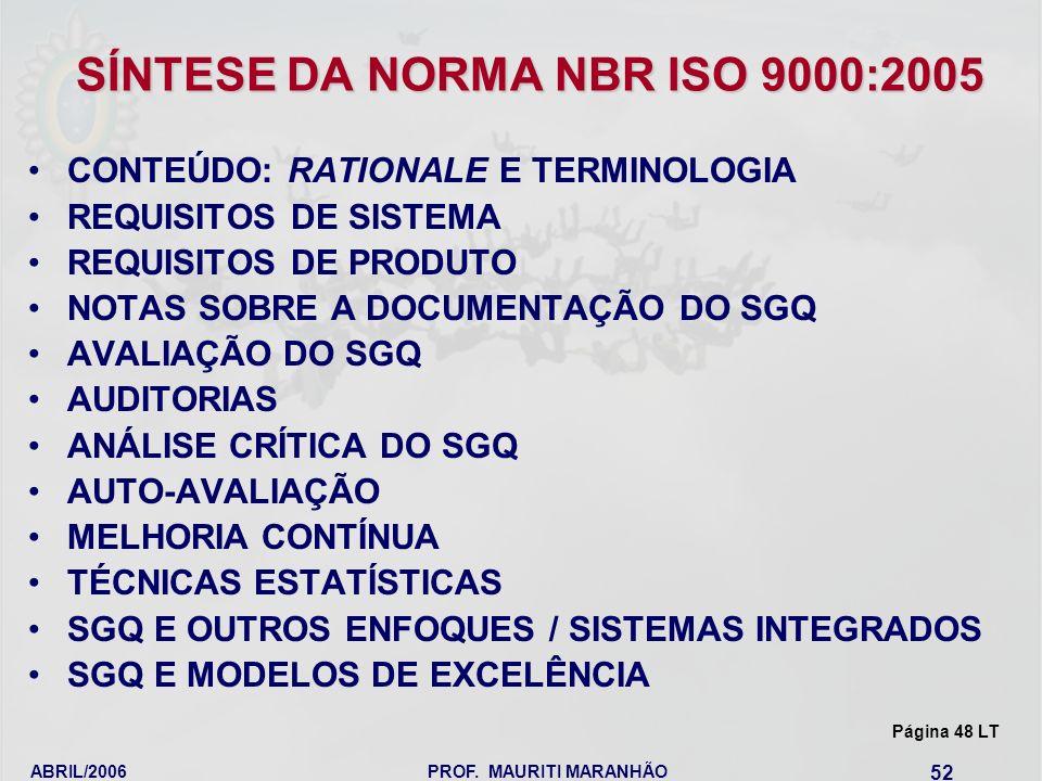 SÍNTESE DA NORMA NBR ISO 9000:2005