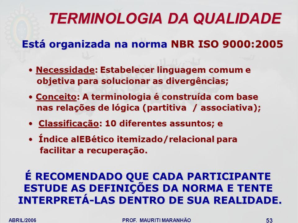 TERMINOLOGIA DA QUALIDADE Está organizada na norma NBR ISO 9000:2005