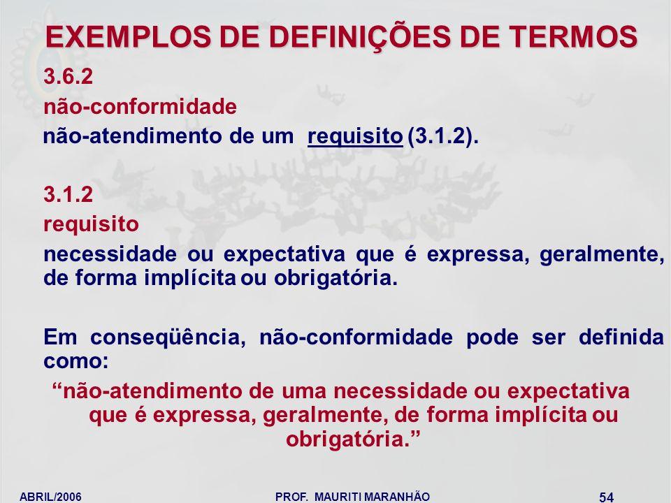 EXEMPLOS DE DEFINIÇÕES DE TERMOS