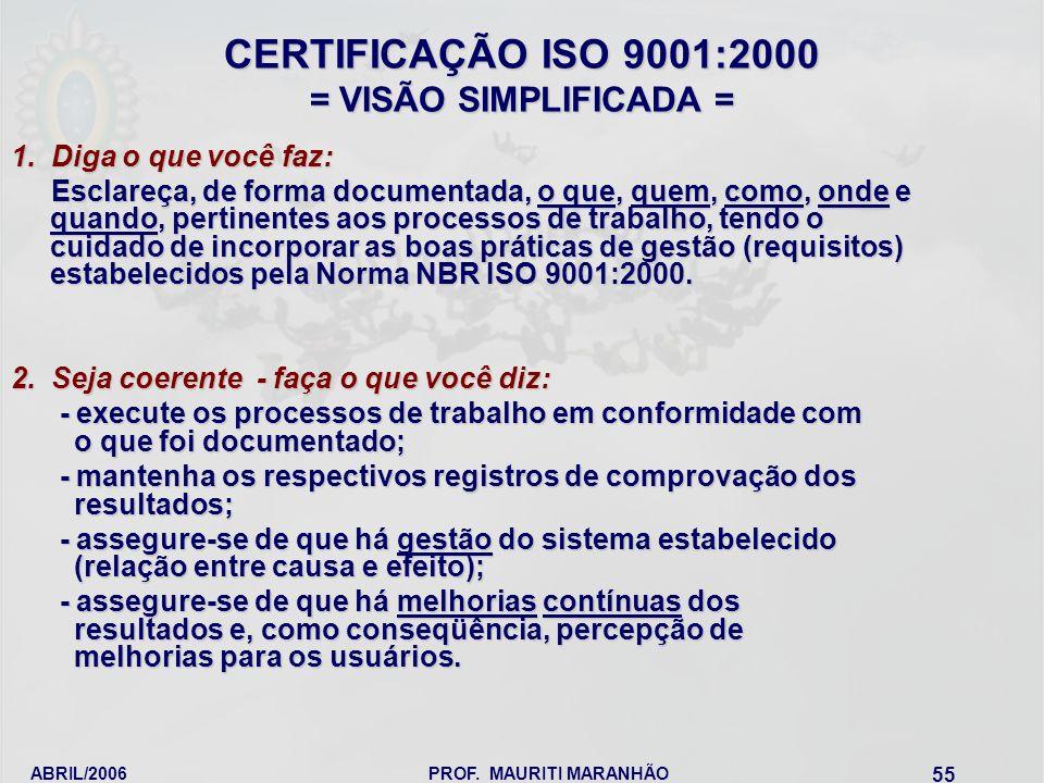 CERTIFICAÇÃO ISO 9001:2000 = VISÃO SIMPLIFICADA =