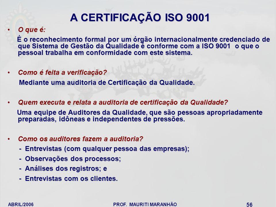 A CERTIFICAÇÃO ISO 9001 O que é: