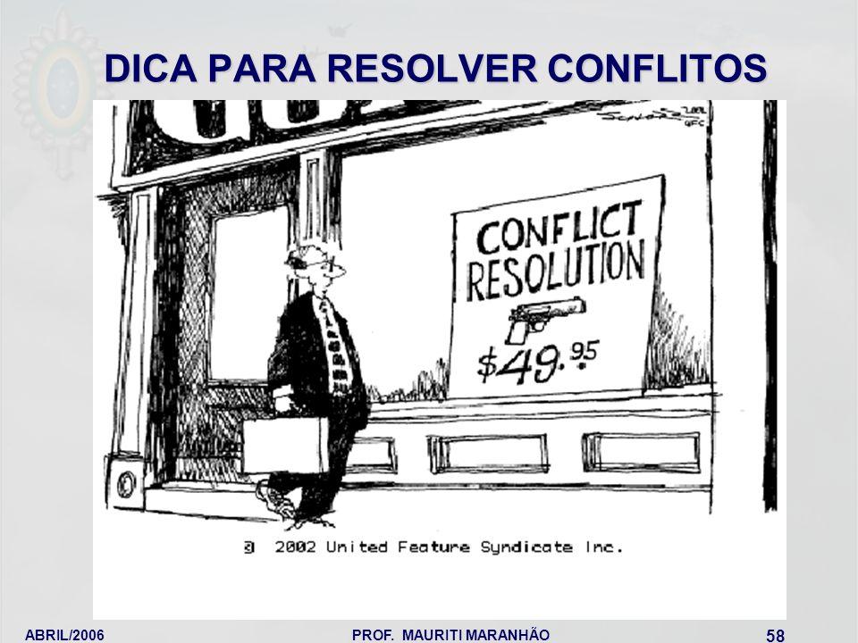 DICA PARA RESOLVER CONFLITOS