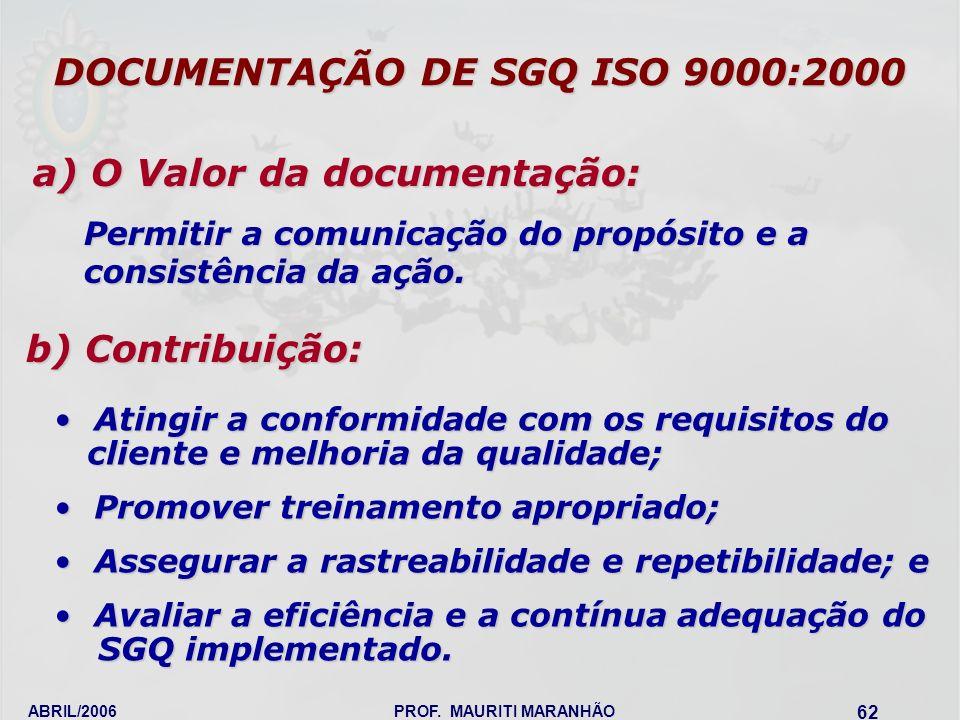 DOCUMENTAÇÃO DE SGQ ISO 9000:2000