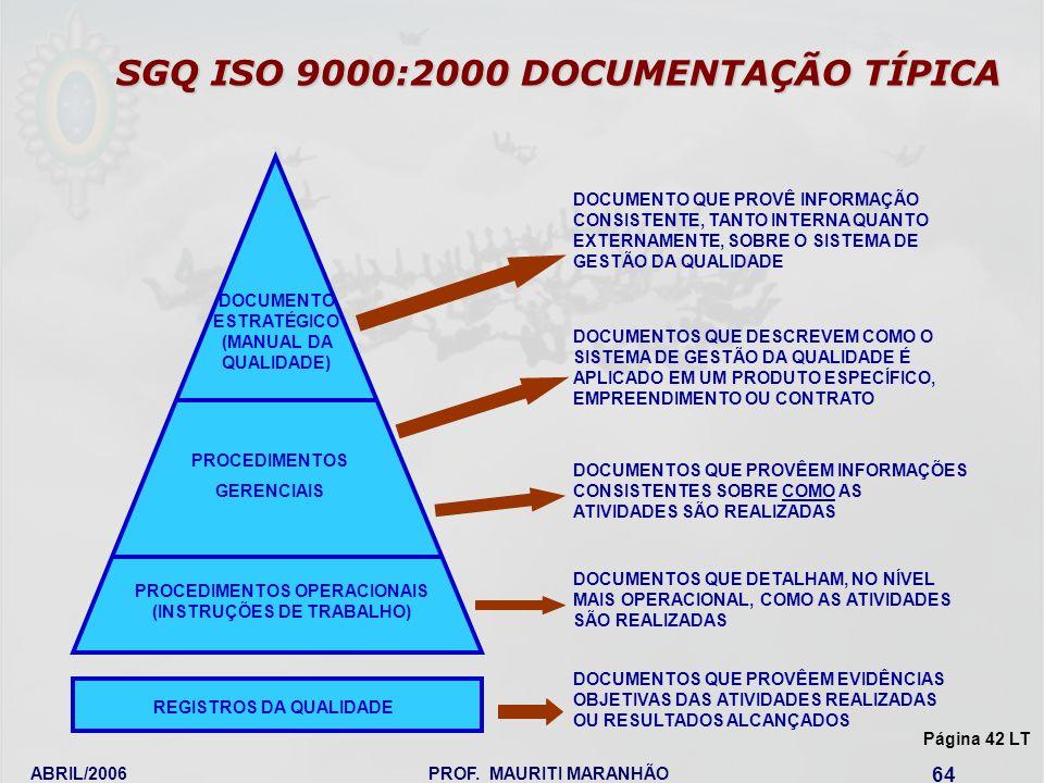SGQ ISO 9000:2000 DOCUMENTAÇÃO TÍPICA