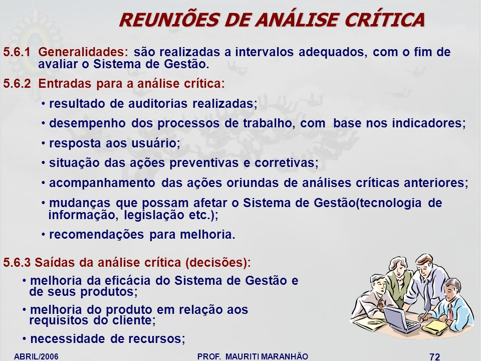 REUNIÕES DE ANÁLISE CRÍTICA