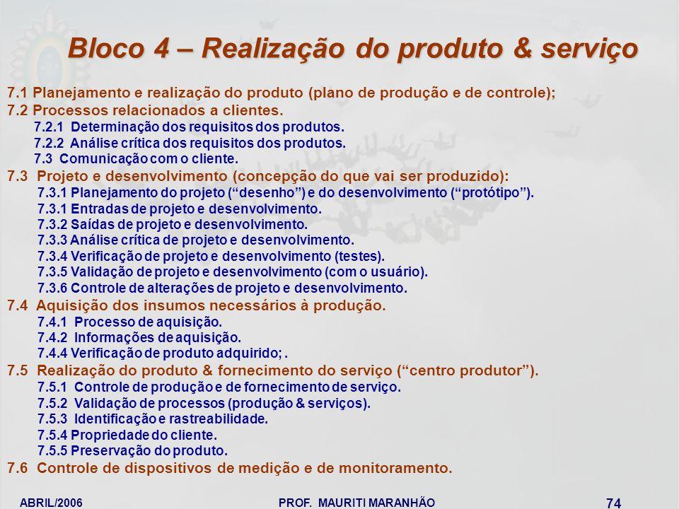 Bloco 4 – Realização do produto & serviço