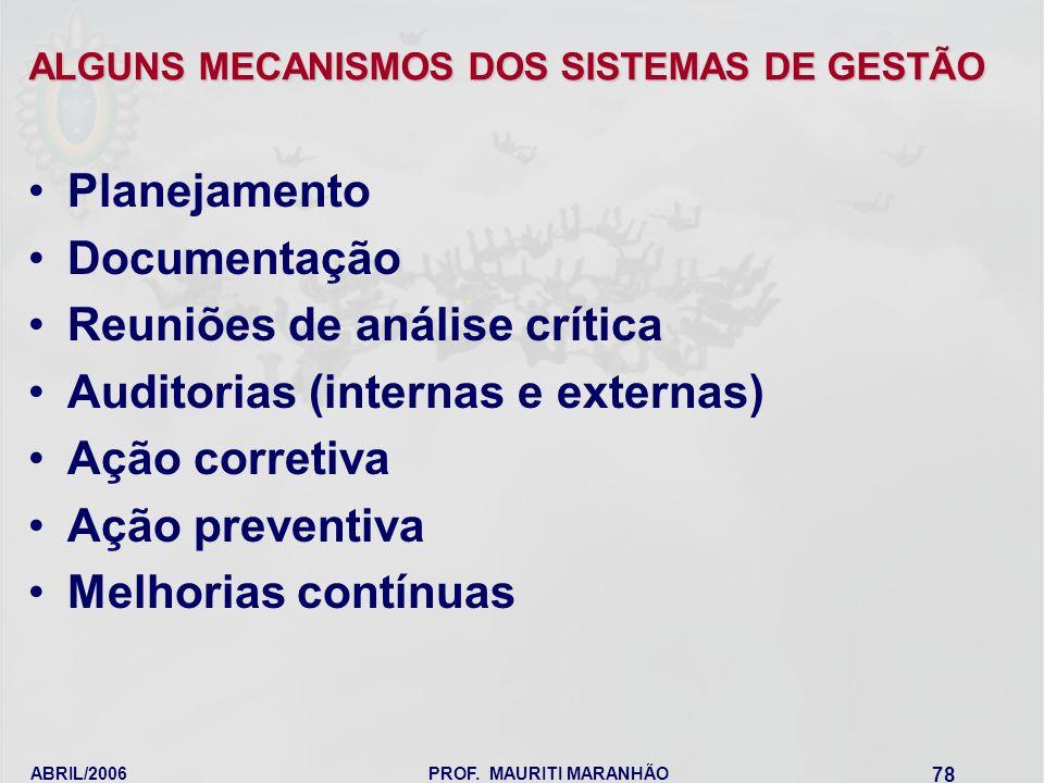 ALGUNS MECANISMOS DOS SISTEMAS DE GESTÃO
