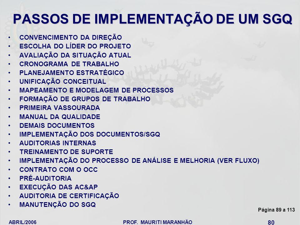 PASSOS DE IMPLEMENTAÇÃO DE UM SGQ