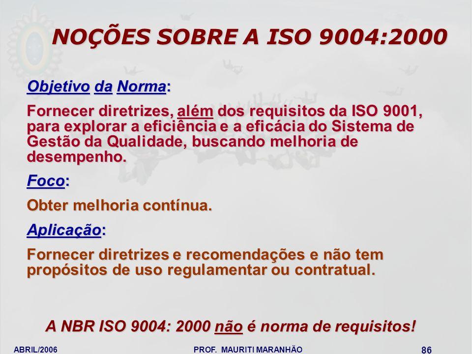 A NBR ISO 9004: 2000 não é norma de requisitos!