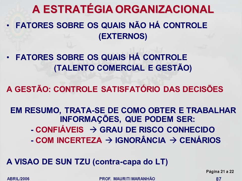 A ESTRATÉGIA ORGANIZACIONAL