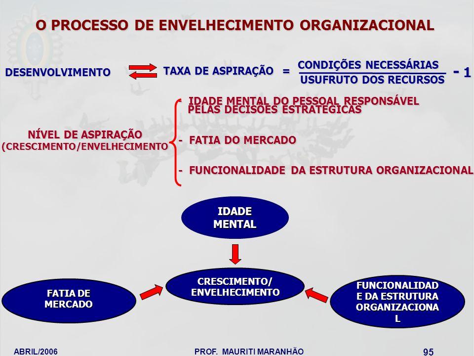 - 1 O PROCESSO DE ENVELHECIMENTO ORGANIZACIONAL CONDIÇÕES NECESSÁRIAS