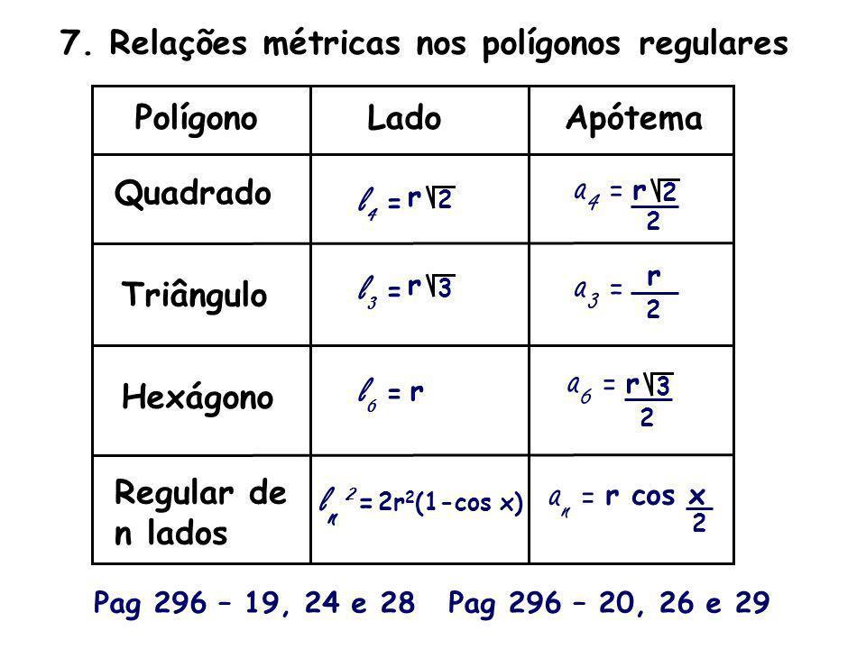 7. Relações métricas nos polígonos regulares