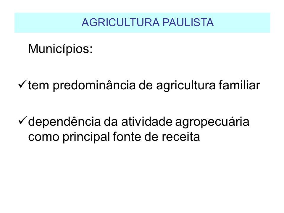 AGRICULTURA PAULISTA Municípios: tem predominância de agricultura familiar.