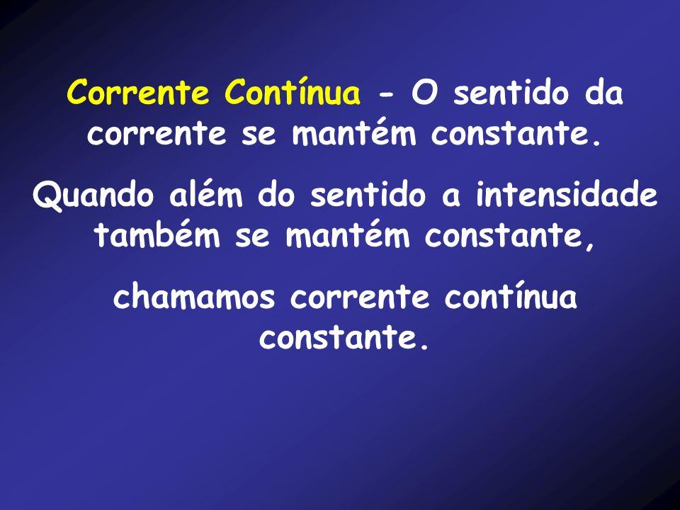 Corrente Contínua - O sentido da corrente se mantém constante.