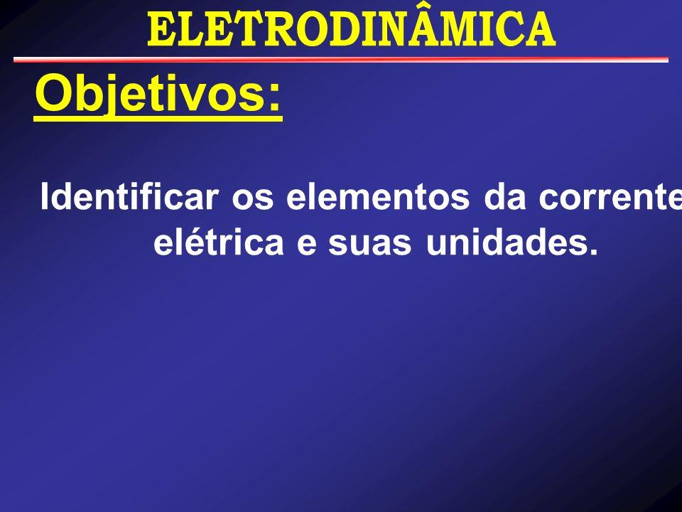 Identificar os elementos da corrente elétrica e suas unidades.