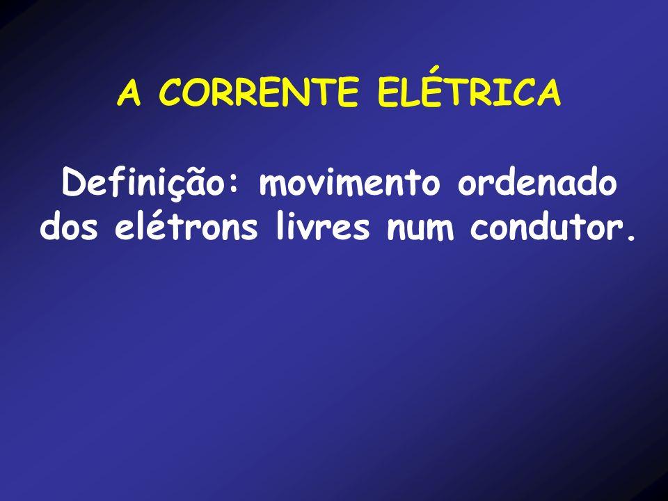 Definição: movimento ordenado dos elétrons livres num condutor.
