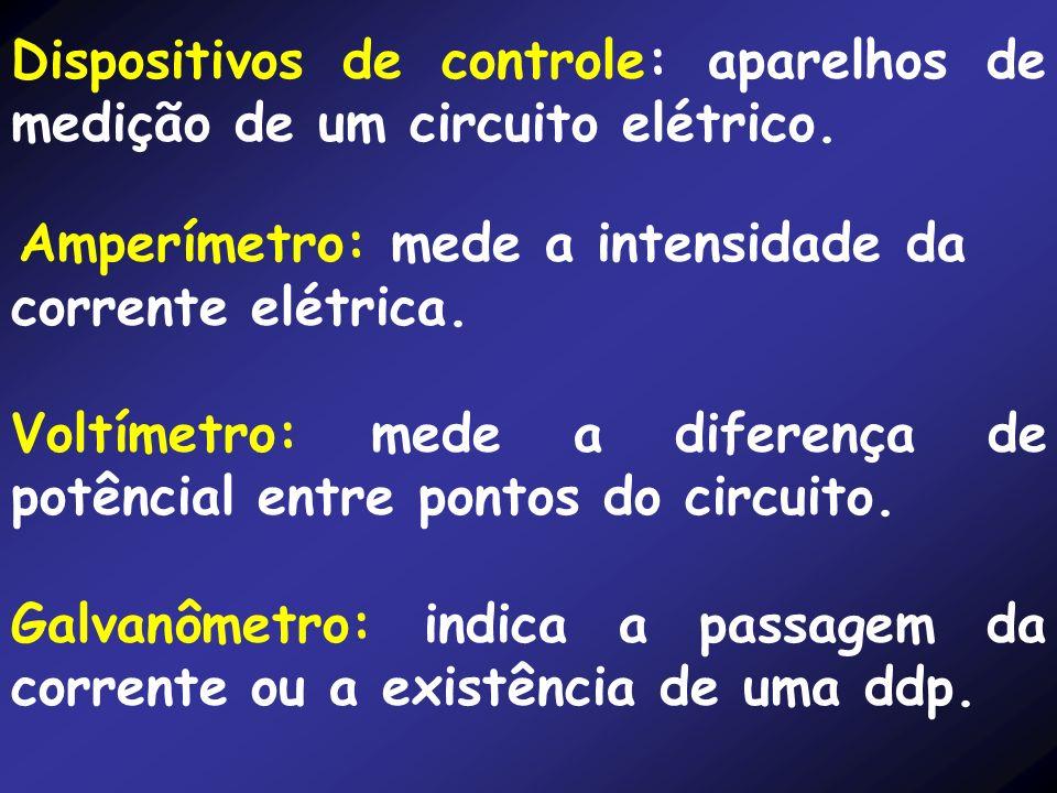 Voltímetro: mede a diferença de potêncial entre pontos do circuito.