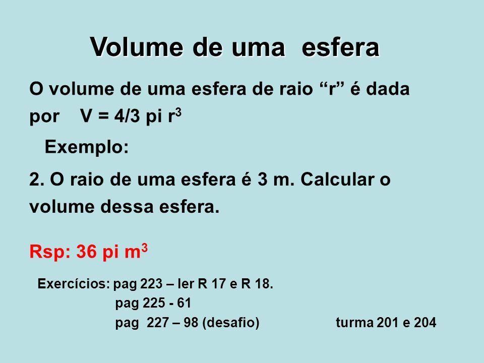 Volume de uma esfera O volume de uma esfera de raio r é dada