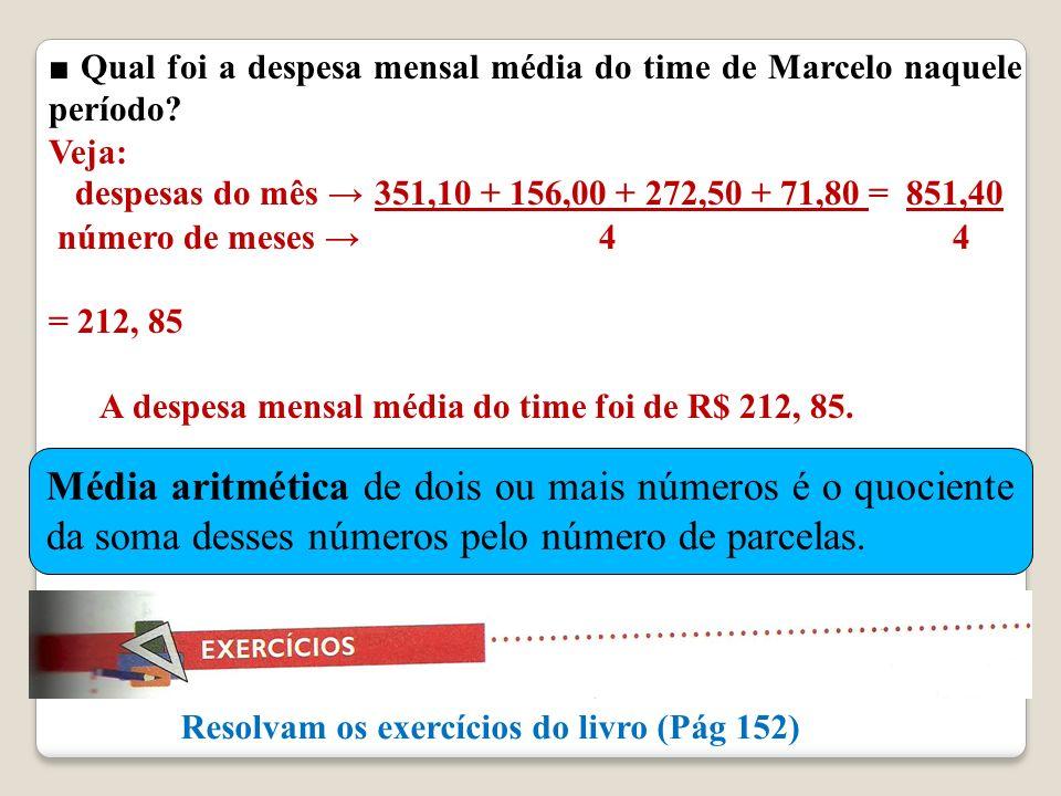 ■ Qual foi a despesa mensal média do time de Marcelo naquele período