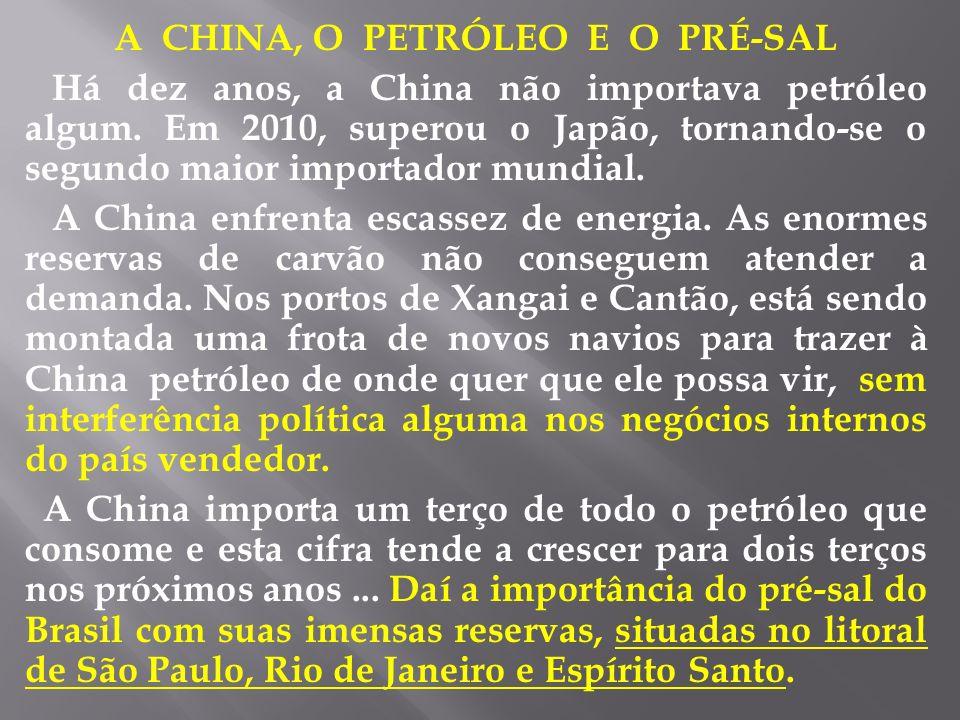 A CHINA, O PETRÓLEO E O PRÉ-SAL