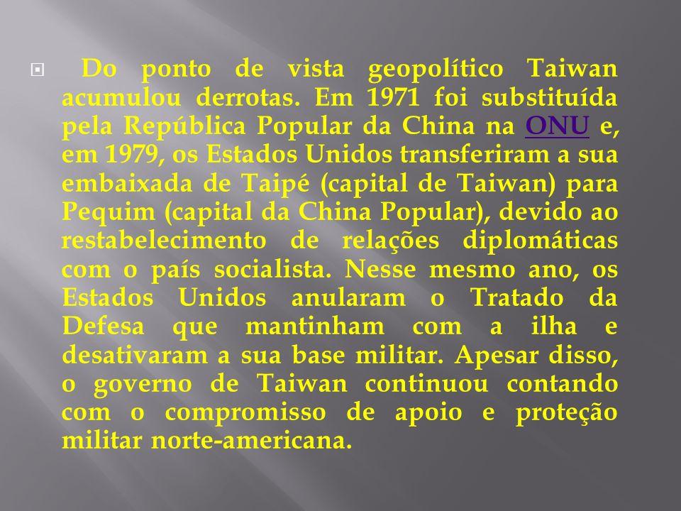 Do ponto de vista geopolítico Taiwan acumulou derrotas