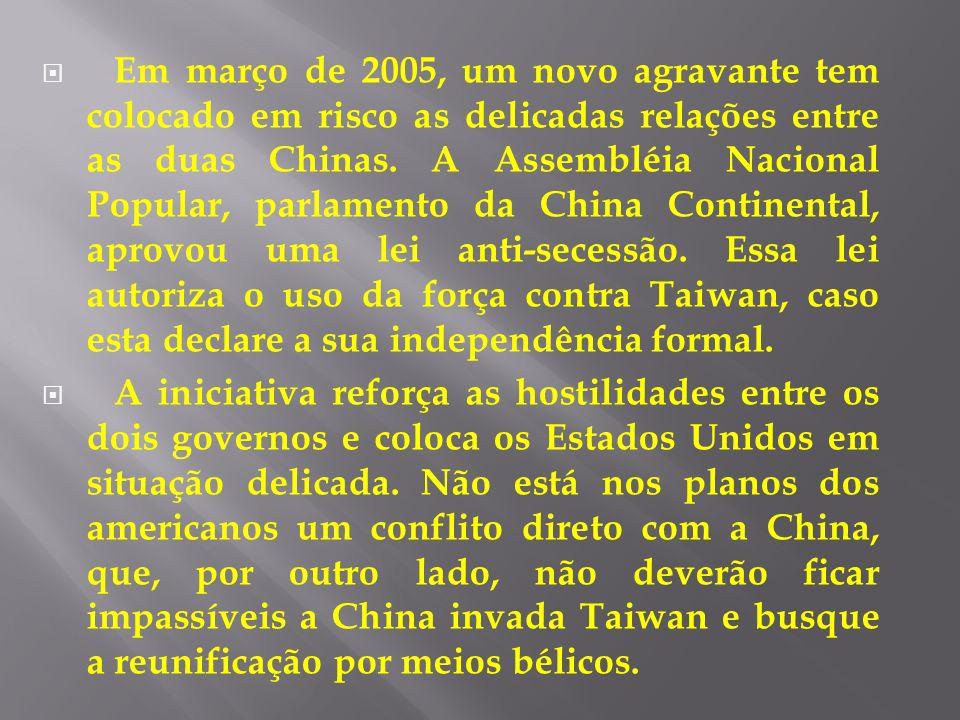Em março de 2005, um novo agravante tem colocado em risco as delicadas relações entre as duas Chinas. A Assembléia Nacional Popular, parlamento da China Continental, aprovou uma lei anti-secessão. Essa lei autoriza o uso da força contra Taiwan, caso esta declare a sua independência formal.